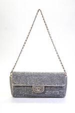 Chanel Para Mujer De Cuero E/W Solapa Bolsa De Plata