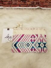 SKY KILIM SPORT POUCH  ZIPPER CLOSURE  EMBROIDERED ABSTRACTS PINK BEIGE TEAL