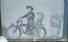 PHOTO NEGATIVE 1950'S BOY & BROTHER ON HOPALONG CASSIDY ROLLFAST BICYCLE/BIKE