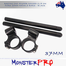 "For Kawasaki Ninja Honda Suzuki Motorcycle CNC 1"" Rised Clip-On Handlebar 37mm"