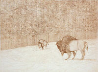 """Azoulay """"Home"""" Signed Numbered ltd ed Etching Art Print of 2 bison in winter OBO"""