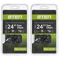 8TEN Chainsaw Chain 24 Inch .050 3/8 84DL Stihl Husqvarna 455 Rancher 2 Pack