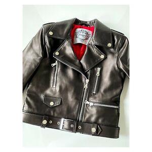 Women's Premium Black Real Leather Biker Jacket Ladies Size 10 12 14 16 Impero