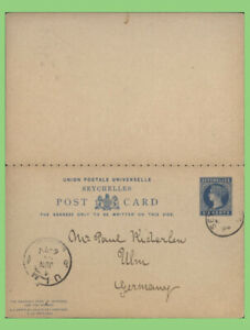 Seychelles 1894 Q.V. 6s postal stationery card with attached reply to Germany