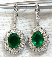 █$12700 4.84ct NATURAL VIBRANT GREEN EMERALD DIAMOND CLUSTER EARRINGS DANGLE 14K