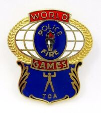 POLICE FIRE WORLD GAMES GREAT LAPEL PIN BADGE ENAMEL