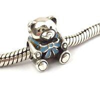 Authentic PANDORA It's A Boy Bear Blue Sterling Silver Bead Charm 791124EN41
