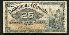 "1900 25 TWENTY FIVE CENTS DOMINION OF CANADA BANKNOTE ""SHINPLASTER"""