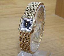 Ladies 18ct Gold P. Vintage Swiss Raymond Weil Fidelio Black Crystal Dress Watch
