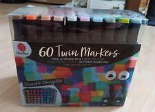 60 Stück TWINMARKER in verschiedenen Farben in Hartbox Breite und feine Spitze A