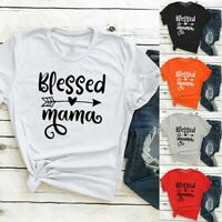 Women's Short Sleeve Blessed mama Printed O-Neck Tops Ladies Tees T-Shirt Blouse