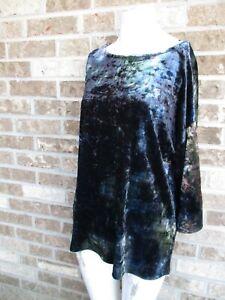 Women's Soft Surroundings Multi color Velor  Top / blouse US Sz M