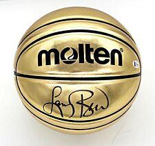 LARRY BIRD Signed Molton Gold Basketball Beckett (BAS) Witnessed COA
