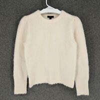 J. Crew Women's Ivory Puff Sleeve Fuzzy Crewneck Alpaca Wool Sweater Top Small