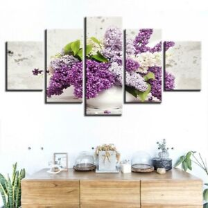 Lovely Lilac Flowers Poster 5 Panel Canvas Print Wall Art Home Decor