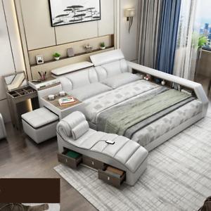 High luxury Multifunctional Modern Massage Smart Bed. Genuine Leather. King Size