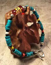 """Heishi Turquoise Buddhist Swastika Lucky Southwest Bracelet Lg 9"""" Artisan"""