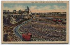 STONE QUARRY~MICHIGAN ALKALI COMPANY~ALPENA~LINEN 1943 POSTCARD