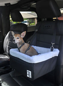 Small Black Dog Car Booster Seat (white lining) - Dogs Out Doing