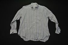 Loro Piana Linen Shirt Men 16 41 Large L Blue Stripes