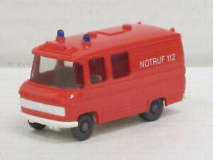 """Mercedes-Benz L 406 """"Notruf 112"""" in blaßrot, ohne OVP, Wiking, 1:87, Feuerwehr"""