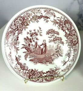 The SPODE ARCHIVE COLLECTION Georgian Series Girl at Well Cake Stand Plate Red