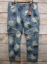 Demolition Mens 40X32 Distressed Slim Fit Splatter Moto Blue Jeans New