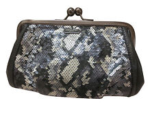 NWT Coach Madison Sequin Python Frame Clutch Evening Bag w/Chain 21274