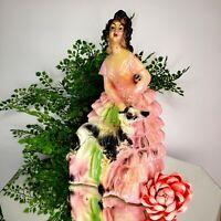 "Vintage ""LOLITA"" Elegant Chalkware Figurine Costumed Lady Pink Dress Russian Dog"