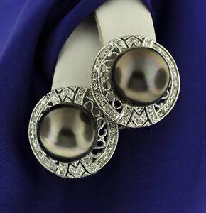 0.40 ct Tahitian South  Sea Pearl Diamond Earring 14K White gold  made in USA