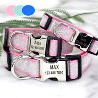 Sequins Personalised Dog Collar Wide Heavy Duty ID Collars for Small Large Dogs