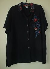 MILLER'S SIZE 16 EMBROIDERED SHORT SLEEVE BLOUSE/SHIRT NAVY BLUE CONTRAST COLLAR