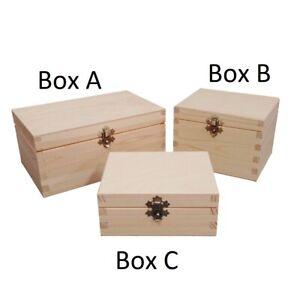 Plain Natural Wooden Box Selection Bulk Set Case Clasp Keepsake Storage Choice