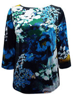 New Phase Eight Kingsley Floral Print Velvet Top - Size 8 to 18