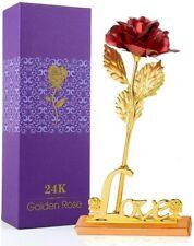 Rose Éternelle Pétales Rouge Plaqué Or avec Support Fleurs Séchées Boite Cadeaux