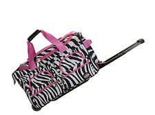 Rockland Rolling Duffle Bag Luggage Travel Gear CarryOn 22 inch Pink Zebra TSA