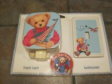 SWITCHPLATE & NIGHT LIGHT, 'BLUE JEAN TEDDY ', NEW