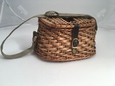 Miniature Creel antique wicker fishing basket Salesman Sample-Leather And Brass