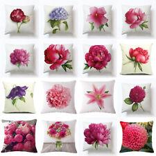 Cotton Linen Pillow Case Flower Waist Back Throw Cushion Cover Home Sofa Decor