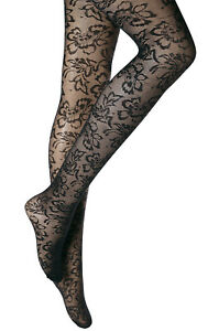 Womens Ladies black floral pattern tights one size S-L