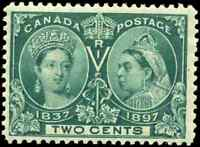 Canada #52 mint F-VF OG NH 1897 Queen Victoria 2c green Diamond Jubilee