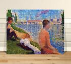 """Georges Seurat Seated Bather 2 ~ FINE ART CANVAS PRINT 36x24"""" ~ Pointalism"""