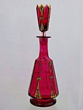 STUNNING ANTIQUE BOHEMIAN MOSER GLASS SMALL DECANTER RED CRANBERRY SUPERB GOLD
