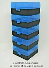 BERRY'S PLASTIC AMMO BOXES (5) BLUE-BLACK 100 ROUND 223 / 5.56 NEW ITEM