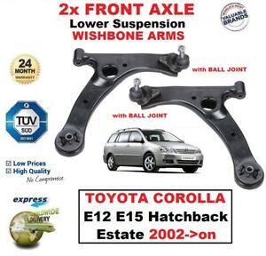 2x FRONT AXLE Lower SUSPENSION Wishbone ARMS for TOYOTA COROLLA E12 E15 2002->on