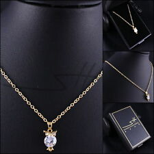 Süße Kette Halskette *Gold-Eule*, Gelbgold pl., Swarovski Elements, inkl. Etui