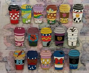 Disney Mystery Pin Collection Character Coffee Cups Complete Set Of 16