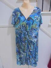 CLARITY XXL16 NWOT BLUE PATTERN LINED DRESS