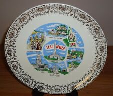 ILLINOIS Vintage state collector's plate 9.25""