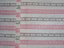 "VINTAGE PINK DIAMOND STRIPED DESIGN ON WHITE COTTON FABRIC - 35"" wide!"